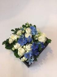 ボックスフラワー【ホワイト・ブルー】BOX-5