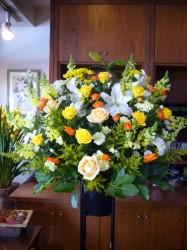 スタンド花一段 【黄色・オレンジ・白系】 315002