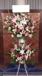 スタンド花2段【ピンク系】330003